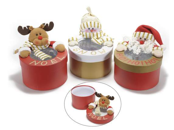 Round sweets holder-box with Christmas subject