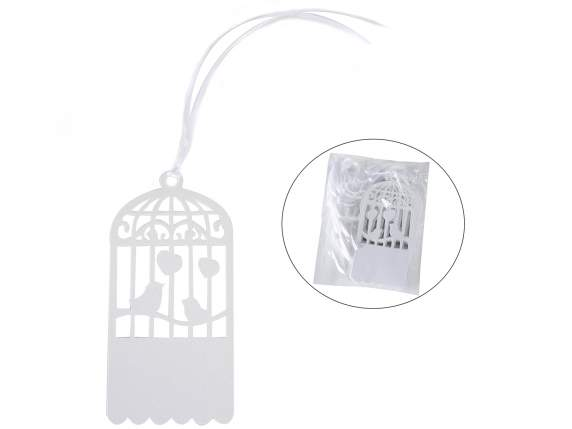 Conf 25 white paper birds cage tags w-satin ribbon