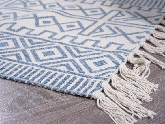 Tappeto in cotone con frange e stampa vintage stone washed
