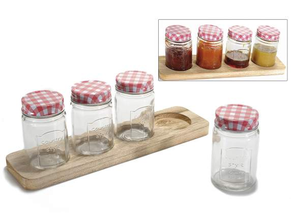 Set 4 tarros de cristal con decoracion en relieve y bandeja