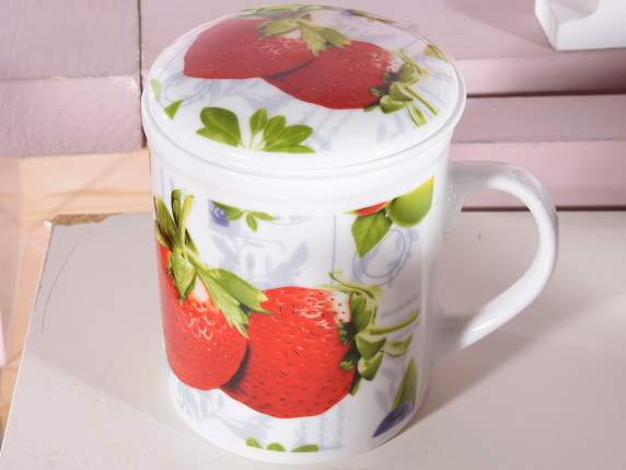 Porzellan-Teekanne - Becher w - Fruit Dekoration u