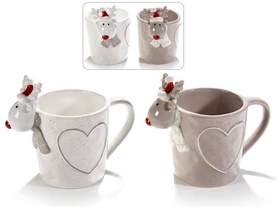 Tazza a renna in ceramica colorata con cuore in rilievo