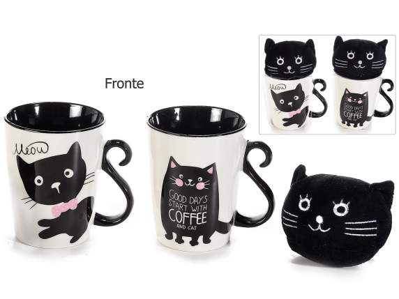 Tazza in porcellana con peluche linea gatto in conf. pvc