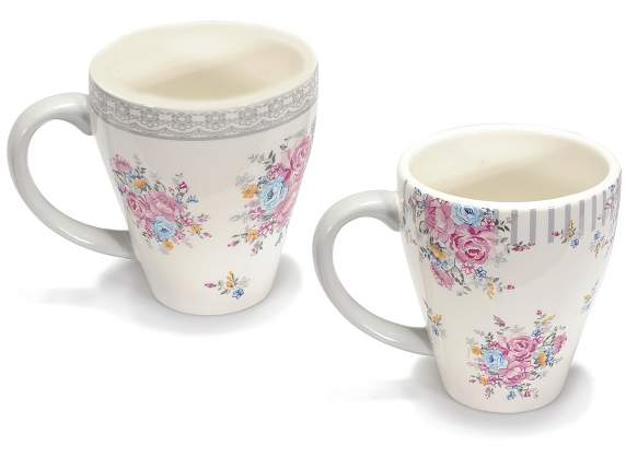 Tazza mug in ceramica con decoro a rose