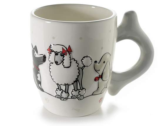 Tazza mug in ceramica con decoro cagnolini in rilievo