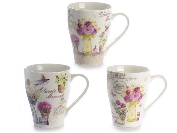 Tazza mug in porcellana con decori floreali