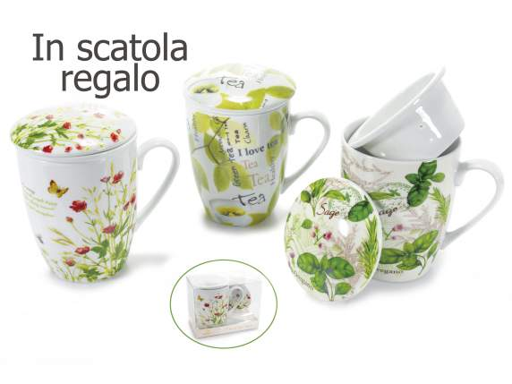 Tazza tisaniera in porcellana in scatola regalo
