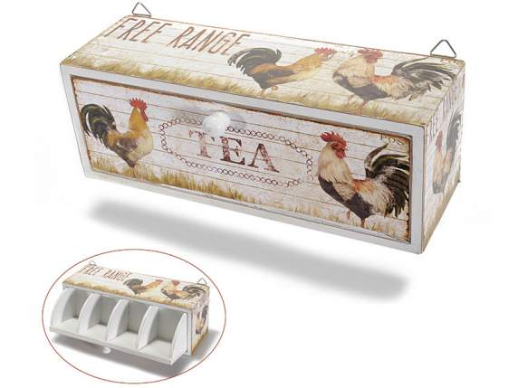 Country hanging tea box w-4 compartments