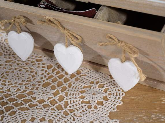 Wooden box chic tea with 3 compartments and hearts
