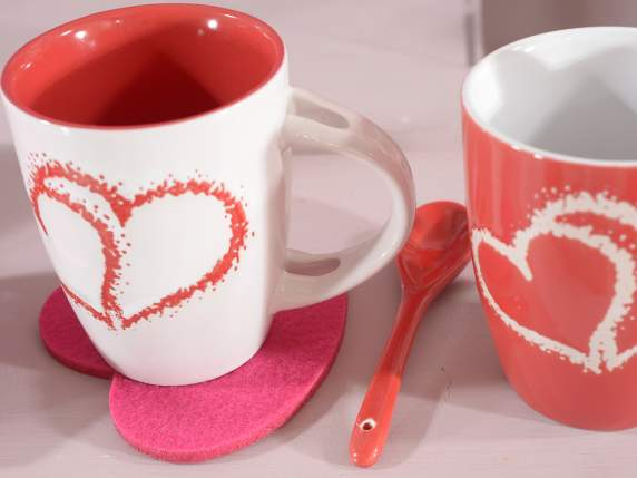 Cup Hearts in ceramic with spoon