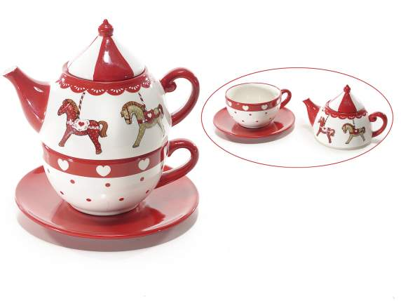 Set teiera e tazza in ceramica c-decoro Giostra c-piattino