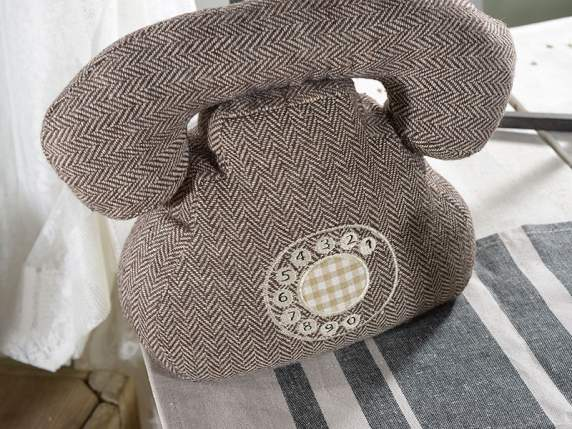 Telephone shaped doorstopper in stuffed cloth