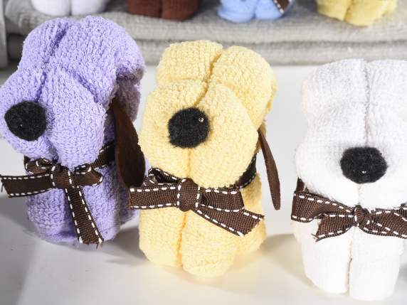 Soft cotton dog shaped towels