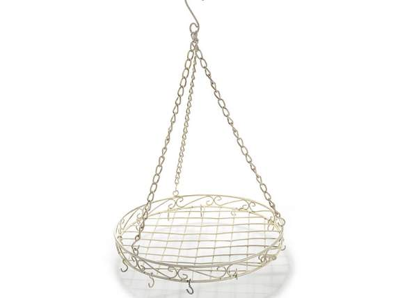 Hanging round tray with 12 hooks and chain