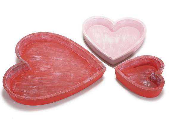 Set 3 hearts shaped trays in wood