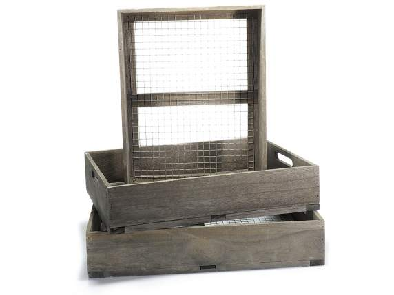 Set 3 wooden serving tray w-metal grid