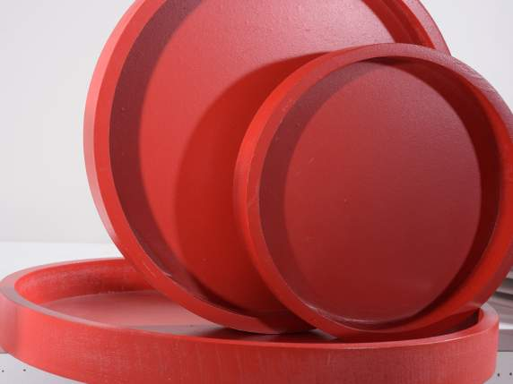 Set 3 red round trays in wood
