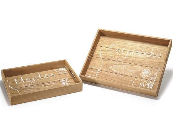 Set 2 wooden trays w-Cocktails decoration
