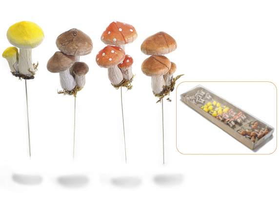 Dekorative Schaum Drahtschaft mushrooms.in Paket v