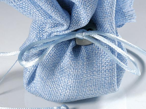 Cloth sugared almonds sachet with string light blue color