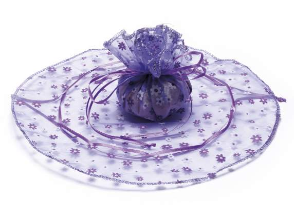 Tulle round sachets  w-print flower w-pull lilac