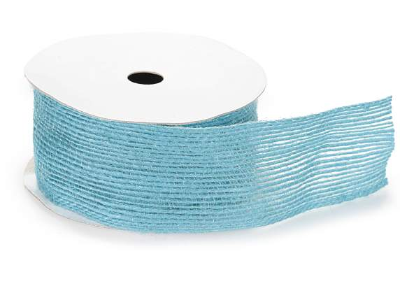 Turquoise linen ribbon 40mm x 10mt