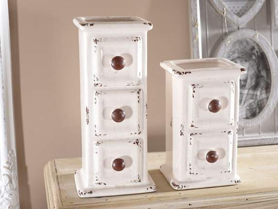 Set 2 chest of drawers shaped vases in porcelain