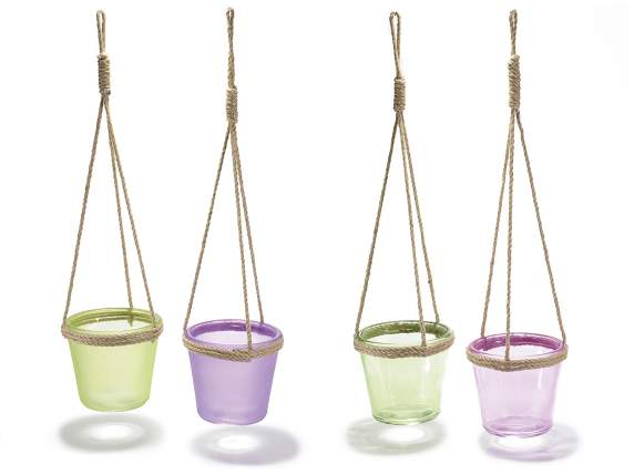 Hanging colored glass vase w-rope