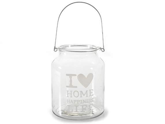 Glass vase w-I Love decoration and metal hook