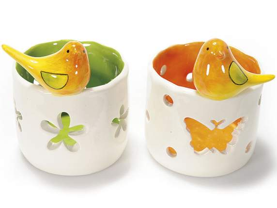 Tealight holder in coloured ceramic and decorative bird