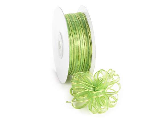 Voile ribbon Poly mm 6x50 mt green apple