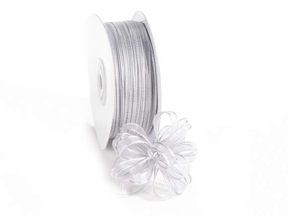 Voile ribbon Poly mm 6x50 mt grey silver