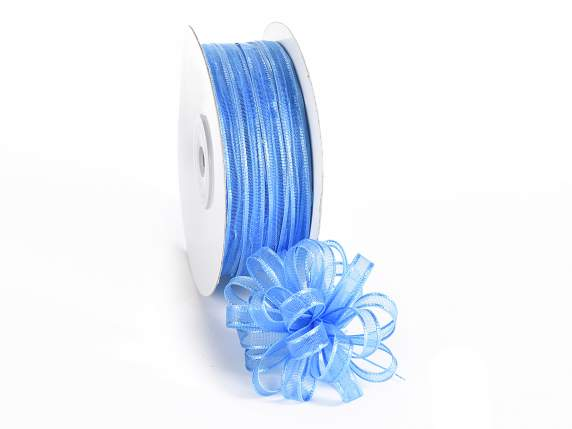 Voile ribbon Poly mm 6x50 mt light blue