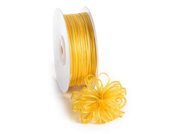 Voile ribbon Poly mm 6x50 mt yellow sunflower