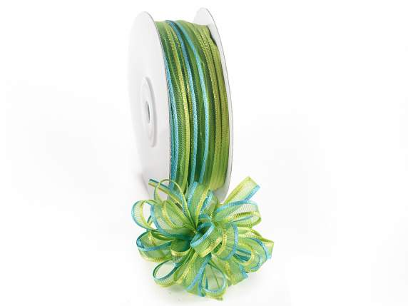 Voile ribbon two coloured Poly mm 6x50 mt green turquoise