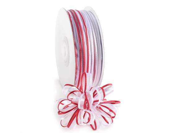 Voile ribbon two coloured Poly mm 6x50 mt red white