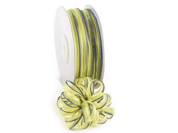 Voile ribbon two coloured Poly mm 6x50 mt yellow-grey