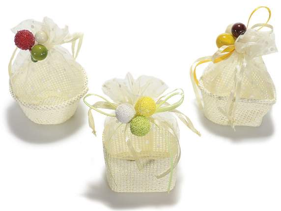 Paper cream box with organza bag