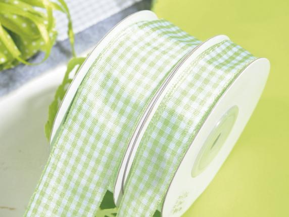Apple green checked ribbon mm 15x25 mt