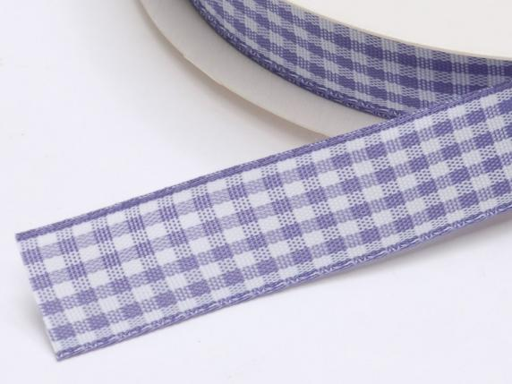 Checked ribbon 15mmx25mt lilac wisteria