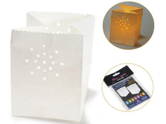 Pack 5 white bag lanterns with decoration