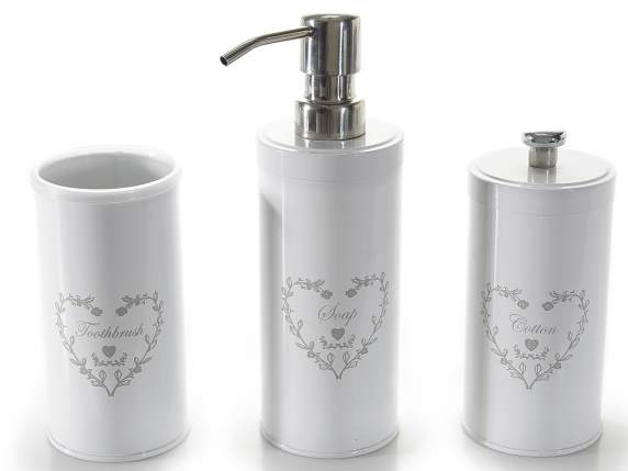 Set 3 metal enamel bathroom accessories