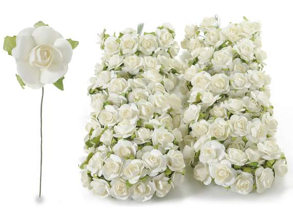 Artificial paper white rose with stem