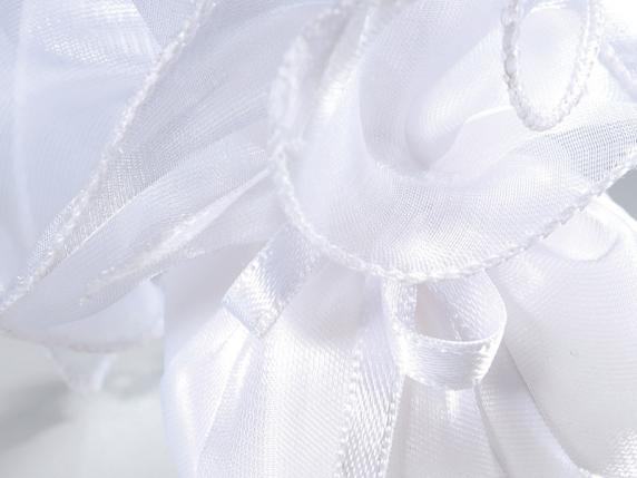 Organdie tulle silk effect for sugared almonds white color