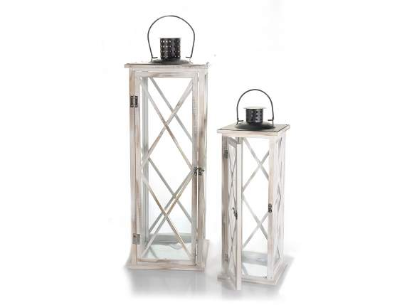 Set 2 white wooden lanterns with metal roof