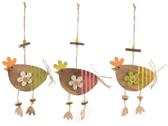 Chicken hanging decor w-pendants and flowers