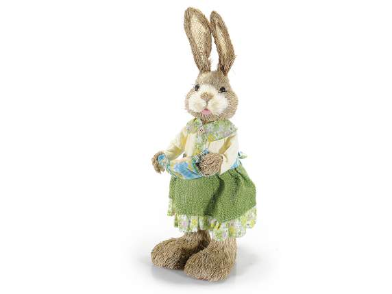 Easter sisal straw rabbit with eggs