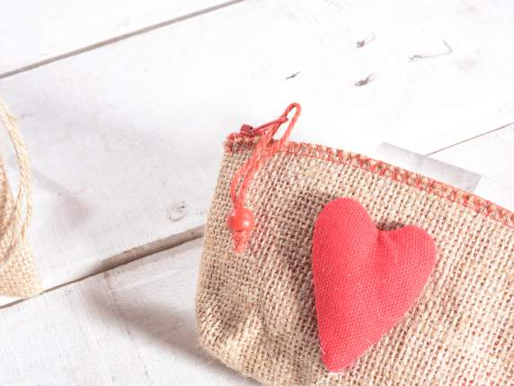 Burlap coin bag with red heart decoration