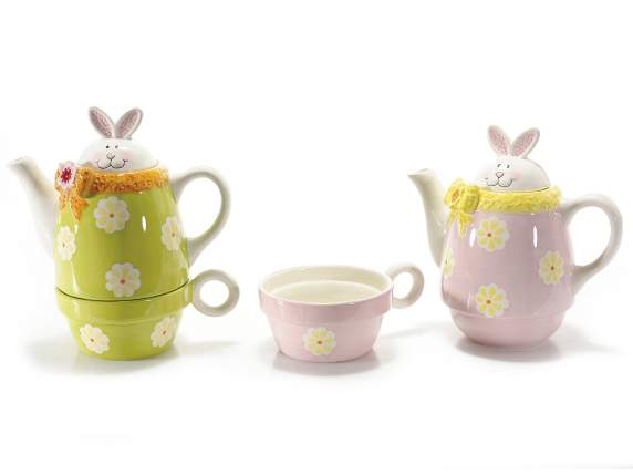 Set ceramic tea for one rabbit shape