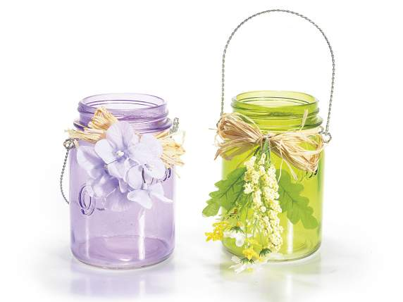 Hanging glass colored jar
